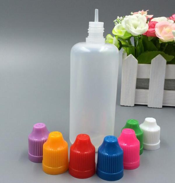 Coloridos 100ml botellas vacías suave estilo Botellas de plástico PE gotero con largas y delgadas extremidades a prueba de niños Caps tienda más Líquido Vapor Liquid E