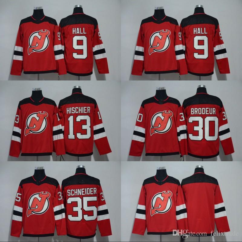 Mens 2018 New Style New Jersey Devils 9 Taylor Hall 35 Cory Schneider 13  Nico Hischier 30 Martin Brodeur Blank Home Hockey Jerseys UK 2019 From  Felixtrade e466ef979