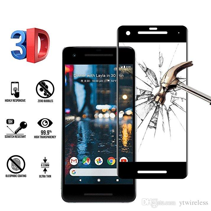 quality design 10917 a545b For Google Pixel 2 XL Screen Protector Glass 3D Curved Full Cover Tempered  Glass Bubble Free Scratch Resistant Ultra Clear Retail Packaging