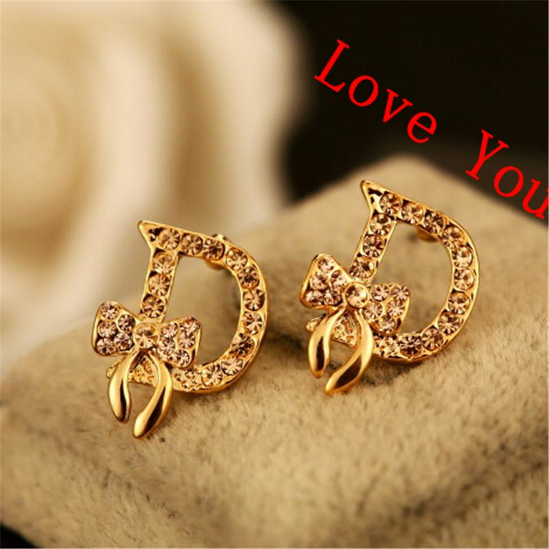 2018 Women\'S Earring Gold Plated Crystal Bow Knot Letter D Stud ...