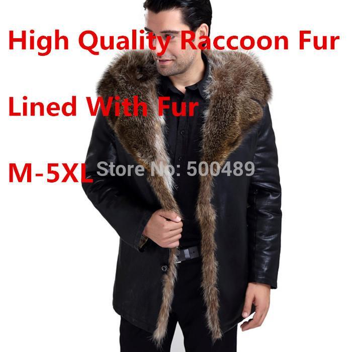 Wholesale Fur Lined Leather Jacket Mens Winter Men'S Fur Coat ...