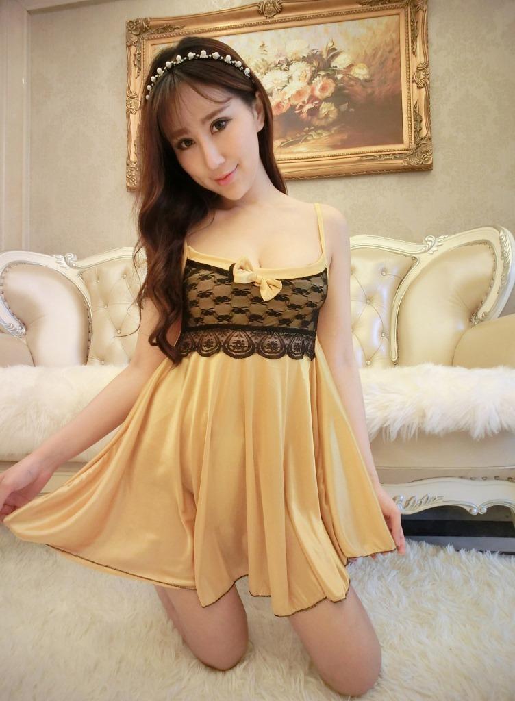 9d75d6fa4 w1029 sexy lingerie golden lace silk women top chemise nightwear dress+g  string set sleepwear