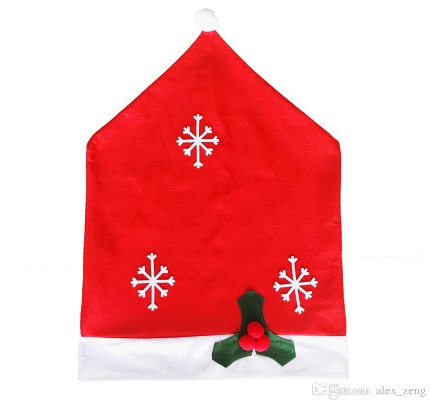 50 * 65 سنتيمتر سانتا كلوز قبعة كرسي يغطي جودة عالية ندفة الثلج عيد الميلاد كرسي مجموعات زينة عيد الميلاد زخرفة الأثاث