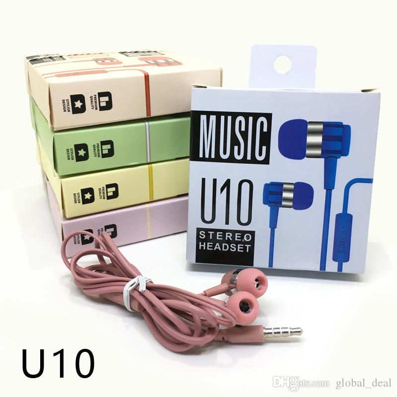 U10 3.5MM Headphone In-Ear Earphone with Mic and Remote stereo headset for iphone 5 5s 6 6s 7 plus samsung S7 S6 edge C9 Pro A9 C7 xiaomi