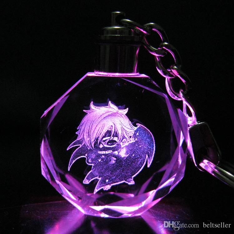 New arrival Anime Action Figure Toys Collections cartoon Tokyo Ghoul LED Crystal Keychain Key Ring Chain with Gift Box Packing