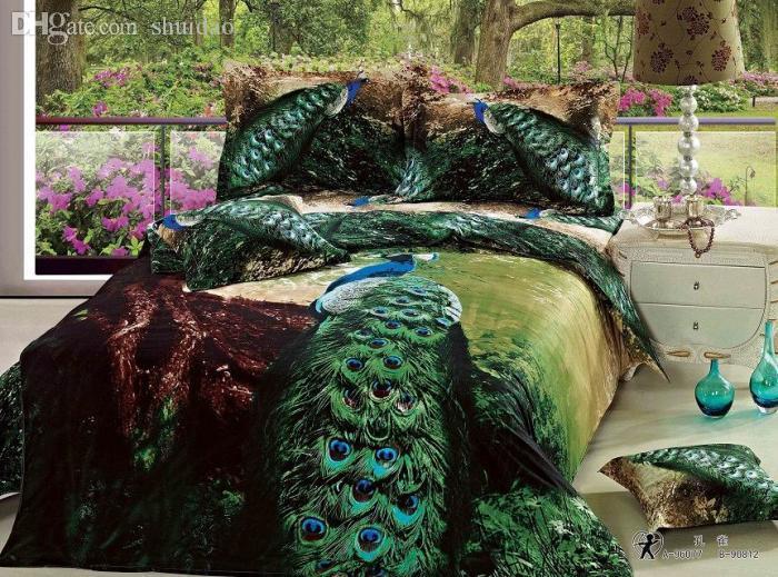 Elegant Wholesale 3d Green Peacock Bird Feather Print Bedding Comforter Set Queen  Size Bedspread Duvet Cover Bed Sheet Sheets Quilt Linen Cotton Sheets  Bedding Twin ...