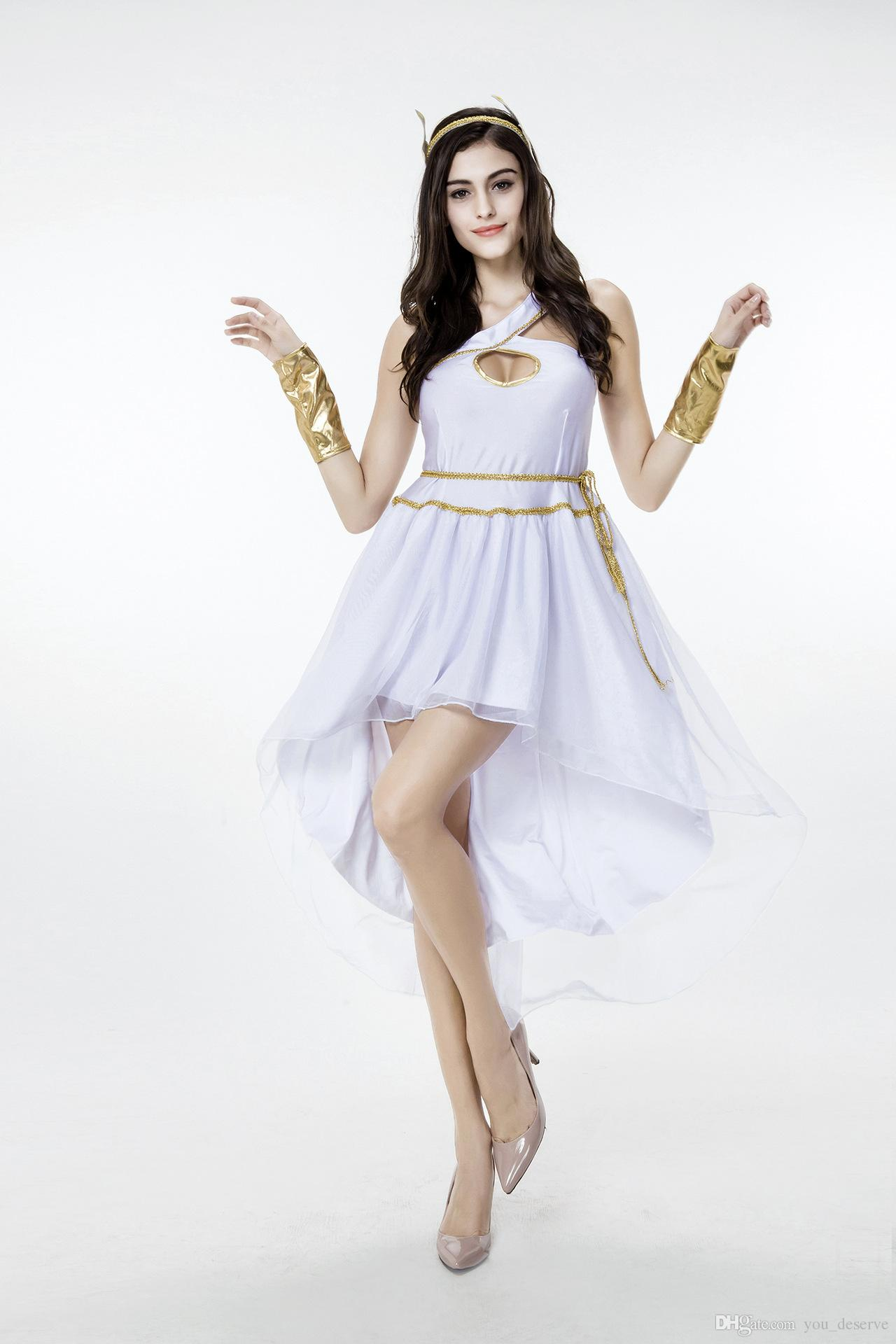 2021 새로운 도착 성인 여성 그리스 여신 드레스 화이트 섹시 코스프레 할로윈 의상 무대 공연 의류 뜨거운 판매
