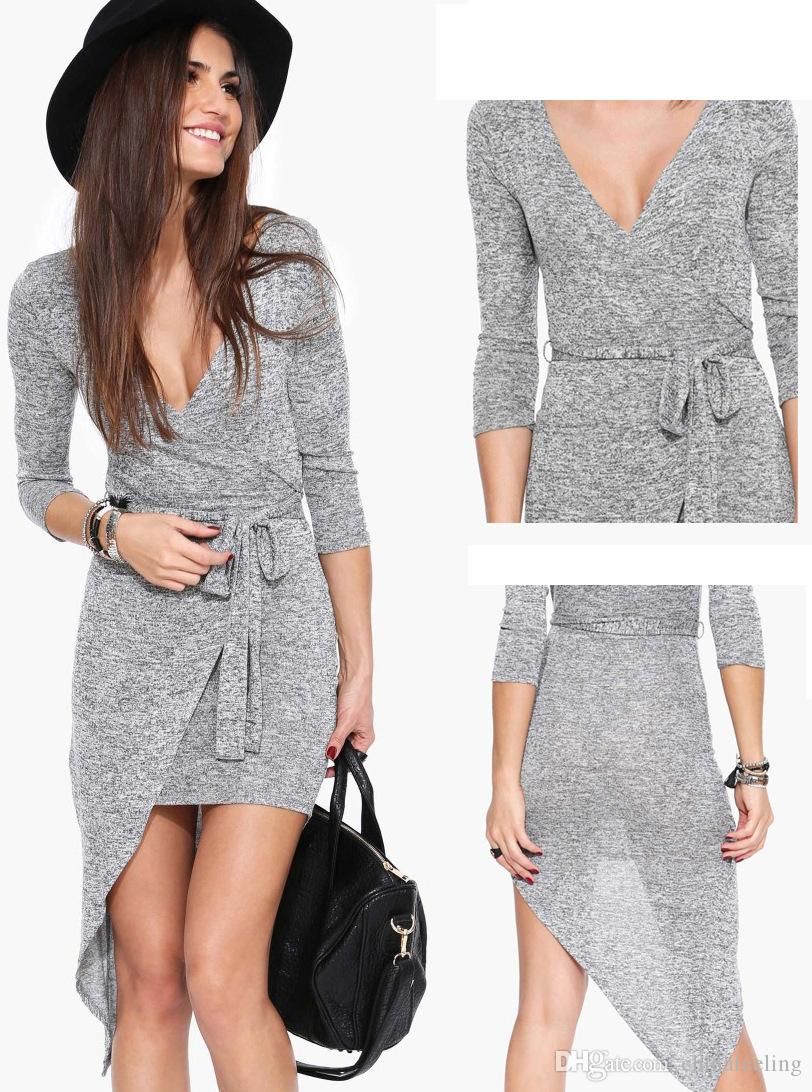 2015 New Women Grey Dress Long Sleeve Asymmetrical Dress Sexy ...