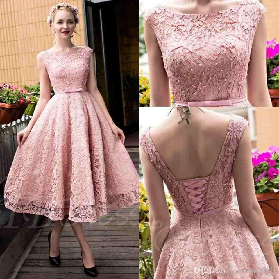 New Blush Pink Elegant Tea Length Full Lace Prom Dresses Bateau Neck Cap Sleeves Corset Back Pearls A-line Party Gowns with Bow