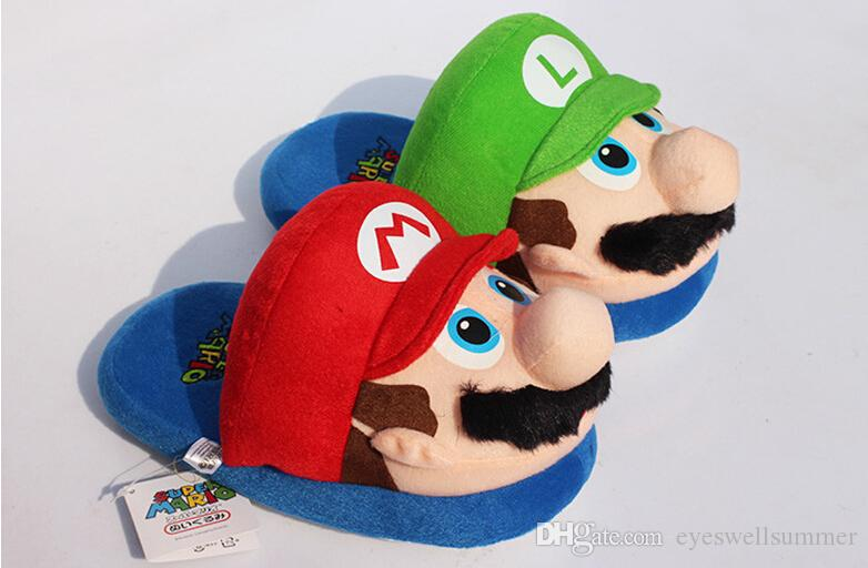 """Retail Super Mario Bros Mario and Luigi Lovers Plush Slipppers Winter Indoor 11"""""""
