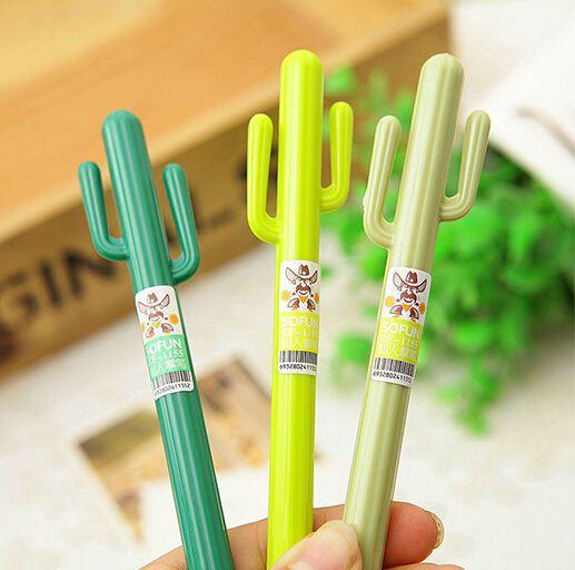 Cute Cactus Design Black Gel Pen Ballpoint Writing Office School Supply 2pcs//set
