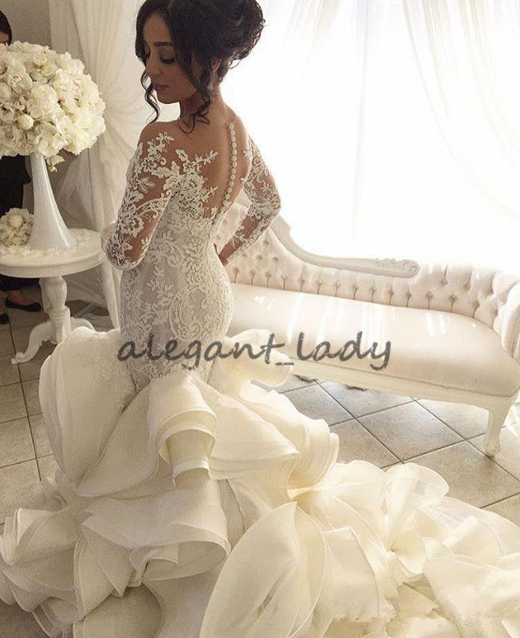 Steven Khalil Luxury Cathedral Train Mermaid Wedding Dresses 2018 Modest Long Sleeve Lace Organza Ruffles Dubai Arabic Wedding Dress Robe