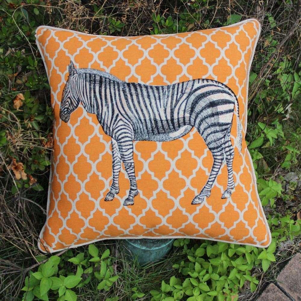 Vezo Home Embroidered Africa Jungle Animal Zebra Print Geometrics