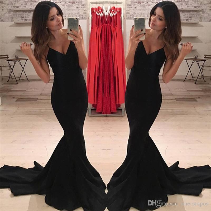 Formal preto sereia vestidos de noite desgaste Sexy cintas de espaguete com decote em v festa de baile vestidos feitos vestidos festa