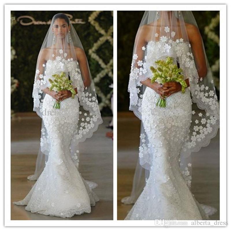 2019 новый элегантный русалка Oscar del la Renta весна свадебные без бретелек кружева длина пола русалка свадебные платья на заказ свадебные платья