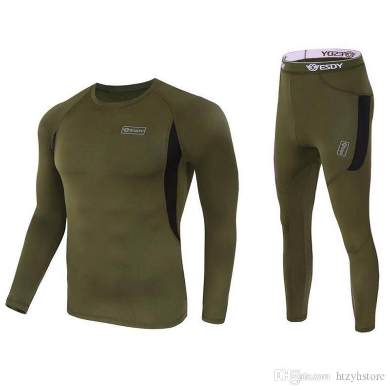 Wholesale- Men Long Johns Quick Dry POLARTEC Thermal Underwear Men ... aba96506a