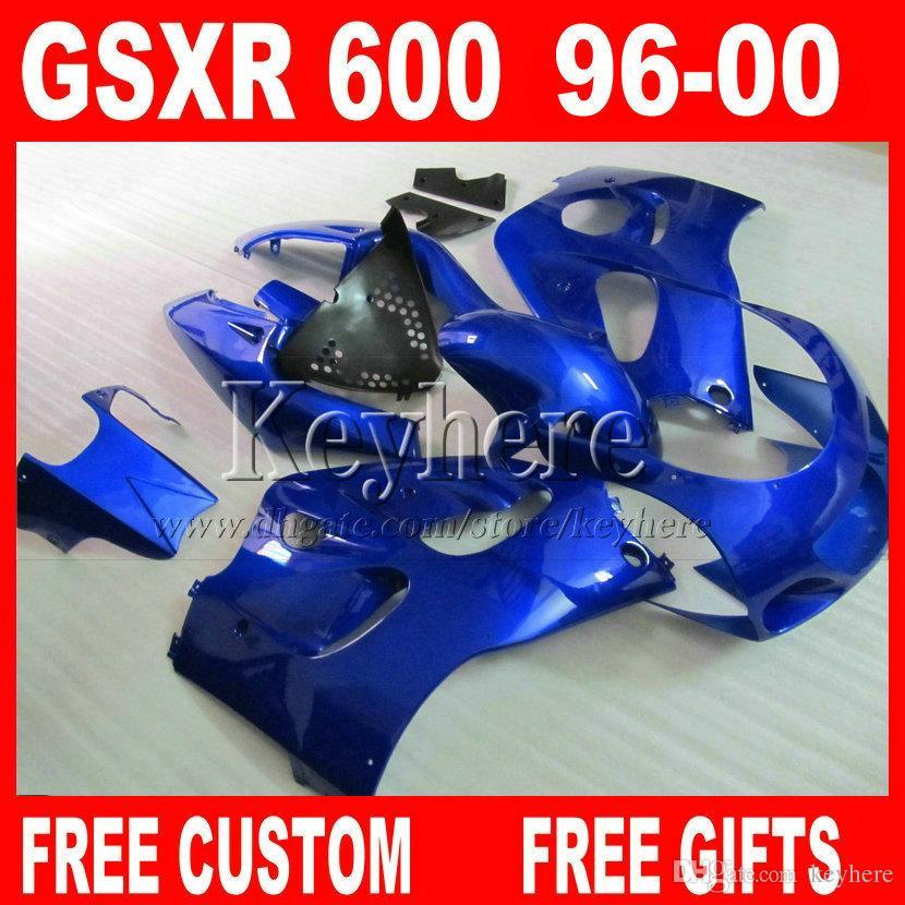 Blue Fairings Set för Suzuki Srad GSXR 600 750 96 97 98 99 00 Bodywork Fairing Kit GSXR600 GSXR750 1996 1997 1998 1999 2000 5G8A +7 Presenter