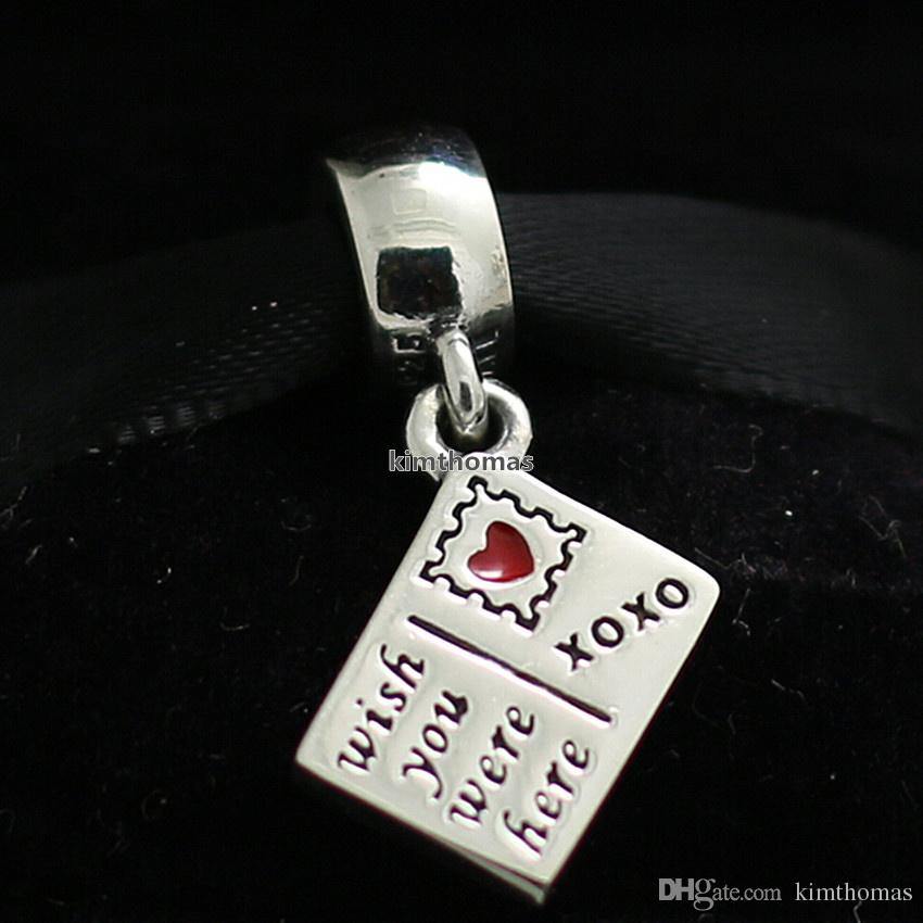925 Sterling Silver Wish You Were Here Dangle Charm Bead with Red Enamel Fits European Pandora Jewelry Style Bracelets Necklaces & Pendants