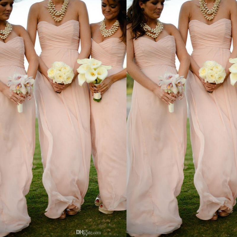 b60a475bb808 Cheap Blush Pink Long Chiffon Bridesmaid Dresses Sweetheart Pleated ...