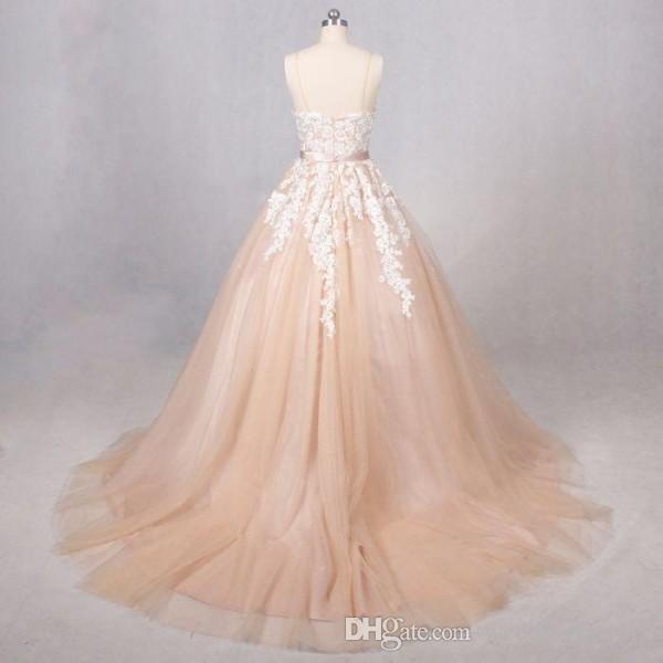 Vintage Champagne Wedding Dress Spaghetti-Trägern Perlen Pailletten Spitze Applikationen Tüll-Reißverschluss bis Brautkleider mit Schärpe und Zug