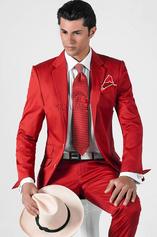 2015 Custom Made Red Mens Wedding Suits Double Pocket Jacket Pants ...