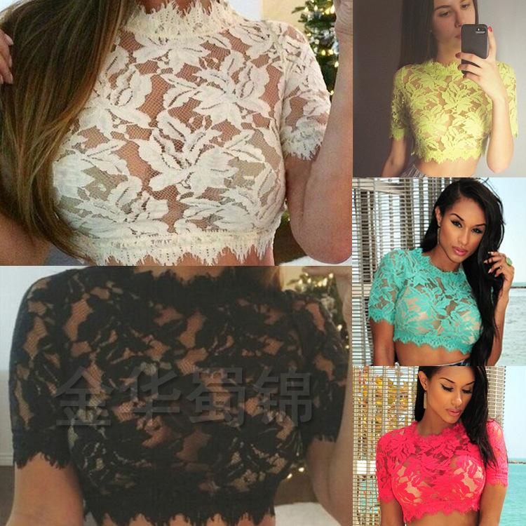 e360c3dbfa07 Hottest Women Lace See-through Blouses Crop Top High Neck Short Sleeve  Cropped Cami Ladies Summer Bandage T-Shirts E03 Free Shipping