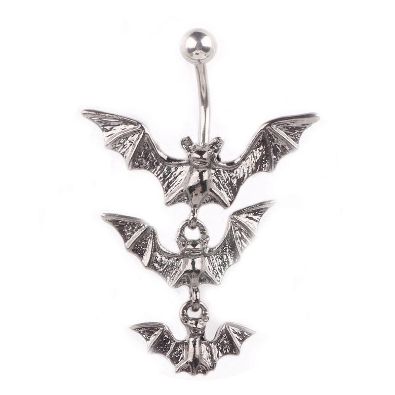 Black Stainless Steel Batman Belly Button Ring Navel Bar Ring Body Piercing Summer Tragus Jewelry