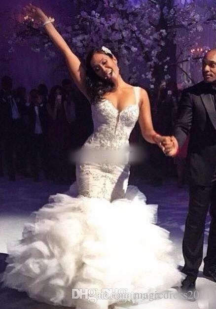 Robes de mariée sirène vintage 2019 avec cristaux de luxe en cascade volants Tulle Sweetheart Pnina Tornai robes de mariée sur mesure