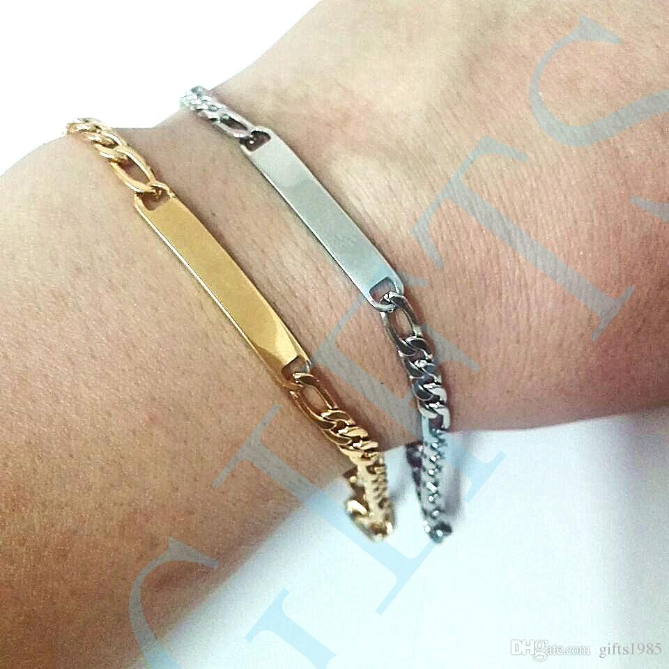 Small Figaro chain ID Bracelets Stainless steel jewelry holiday gift for friend