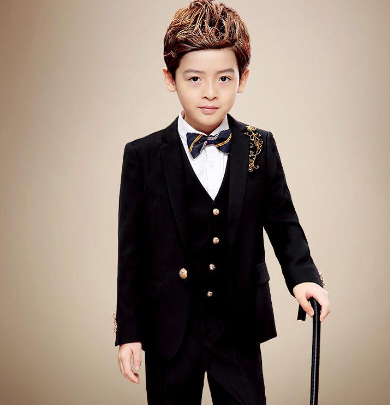 Нежные модные костюмы для мальчиков торжественные случаи костюмы для мальчиков ручной вышивкой из трех частей костюмы для мальчиков маленькие костюмы для мальчиков куртка + брюки + жилет
