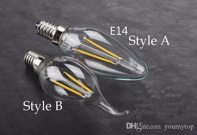 Filament Led Bulbs E12 E14 E27 LED Candle Lamp 2W 4W 110-220V C35T C35 Filament Candelabra Edison Filament Type Bulb Lighting