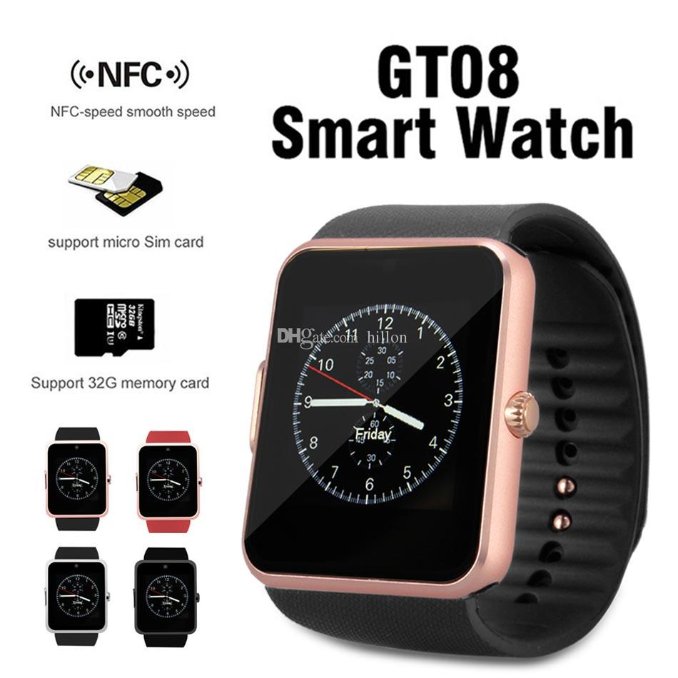 Bluetooth Smart Watch per GT08 Smartwatch con slot per schede SIM NRC Speed ​​Smooth Speed ​​per cellulari Android IOS con pacchetto Retail