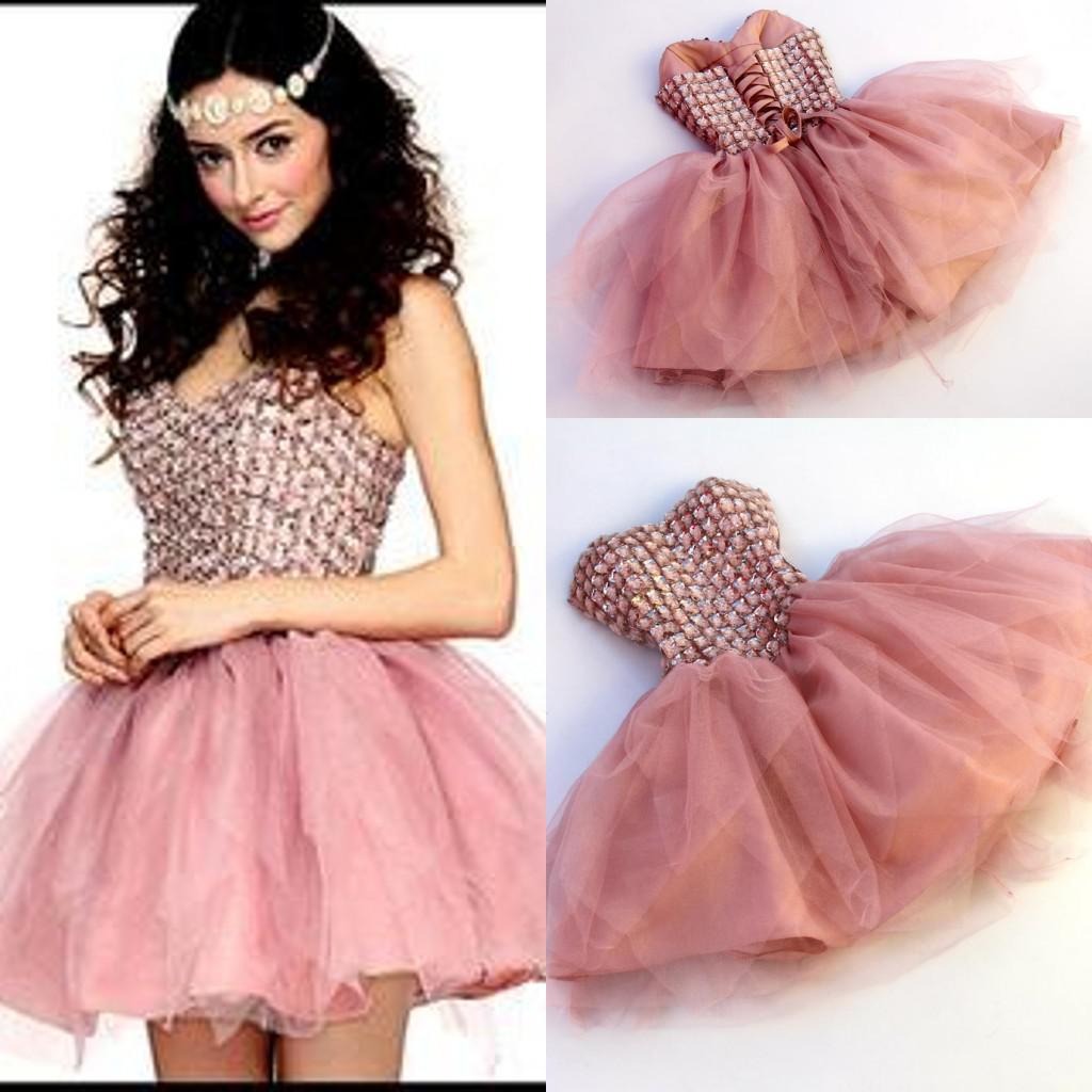 f6622354a99 Roupas Para Festas 2015 Adorável Curto Vestidos Homecoming Querida  Strapless Cristal Tulle Mini Comprimento Da Pele Rosa Espartilho Vermelho  Prom Vestido ...