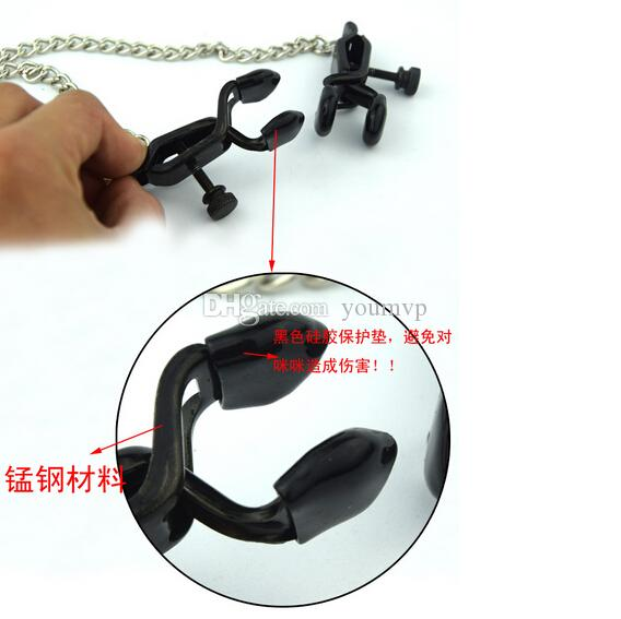 Adult Products Nipple Clamps Sex Chain Toys Stainless Steel Sexy Black Nipple Clamps With Silica gel pad JJD1817