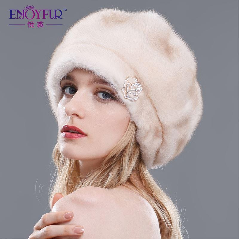 Luxury Mink Fur Beret Hats for Women Winter Fur Cloche Hat Classic ... db10c211657