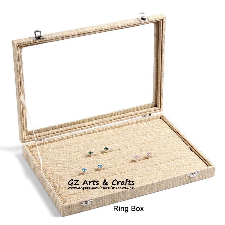 Grande scatola di gioielli di lino orecchini collane bracciali anello gioielli casella di visualizzazione gioielli vassoio gioielli supporto di archiviazione organizzatore titolare