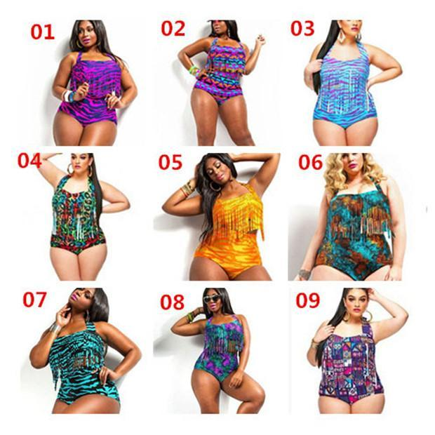 f5b458dbe5c 10 Style Hot Sexy Plus Size Print Fringe High Waist Swimsuit Tassels ...