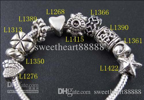 Stjärnblommor Big Hole Spacer Pärlor 100p / Mix Tibetansk Silver Fit European Charm Bracelet Smycken DIY