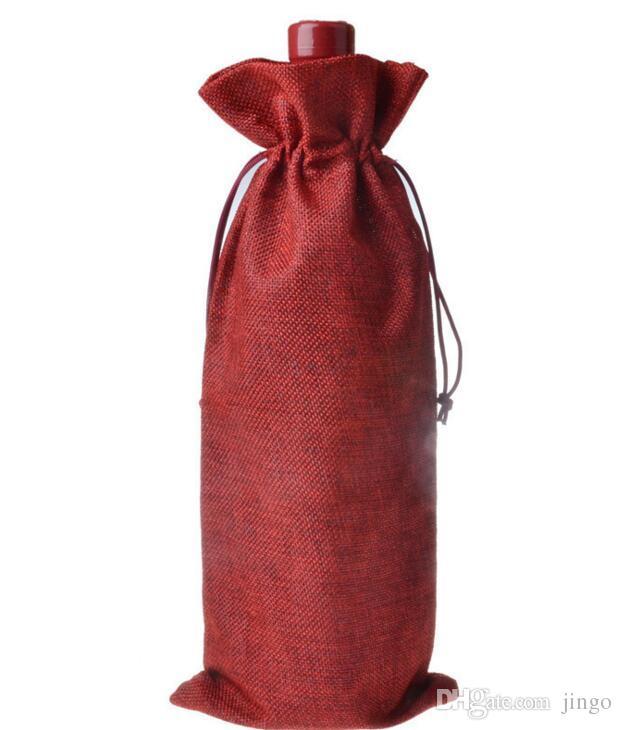 Weihnachten Jute Weinflasche Cover Taschen Champagner Weinflasche Covers Geschenk Beutel Tasche Hochzeit Dekoration Wein Taschen Kordelzug Ornamente