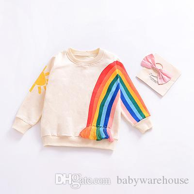 98c944dac81 2019 Kids Sweatshirts Spring Autumn Long Sleeve Coats T Shirts Toddler  Girls Boys Tops Baby Cotton Rainbow Striped T Shirt Tees Children Clothing  From ...
