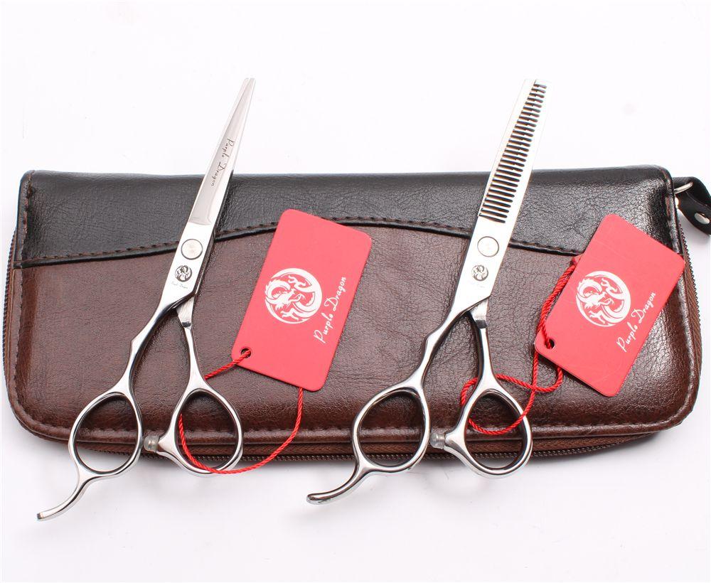 "Z8000 5.5"" 440C Purple Dragon Silver Screw Professional Human Hair Scissors Barbers' Cutting Thinning Shears Left Hand Scissors Style Tools"