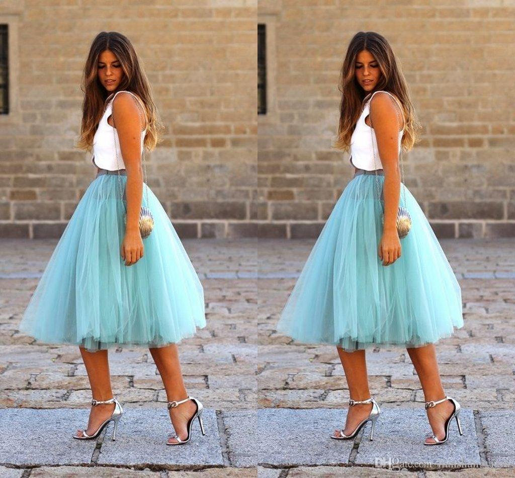 2018 2015 Summer Puffy Tulle Skirt Adult Tutu Women Prom Party Knee Length Gowns Classy Dm048 From