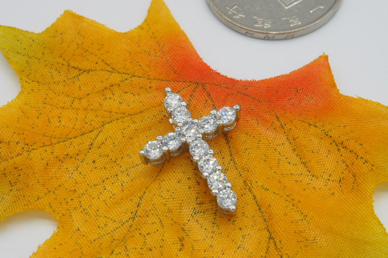925 Collar colgante de plata cruzada, plata de ley 925 con cristal de lujo austria, collares colgantes platillos de 3 capas