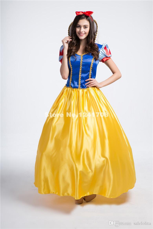 super popular 89bb3 cd5f2 Adulto blu e giallo stampa Cosplay Biancaneve vestito da principessa donne  Halloween Cosplay abiti da ballo Costume