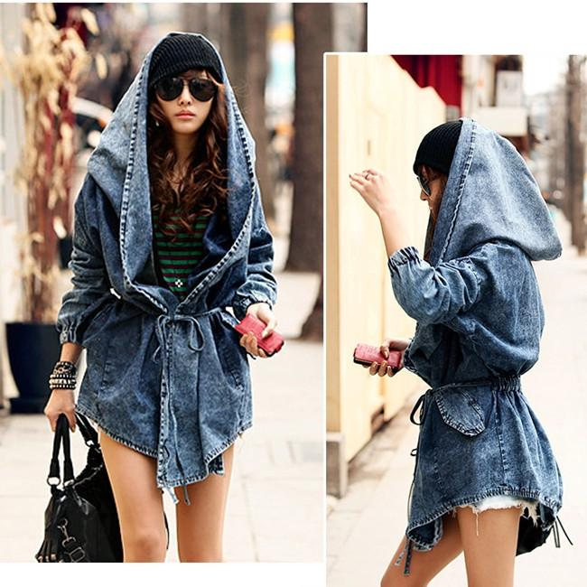 Fashion Women Lady Cool Denim Trench Coat Hoodie Hooded Outerwear ...