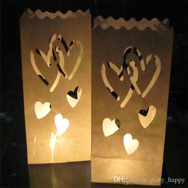 Bougeoir papier bougie sac New table de mariage centre de table vintage coeur bougie chauffe-plat lanterne mariage décoration de fête de Noël