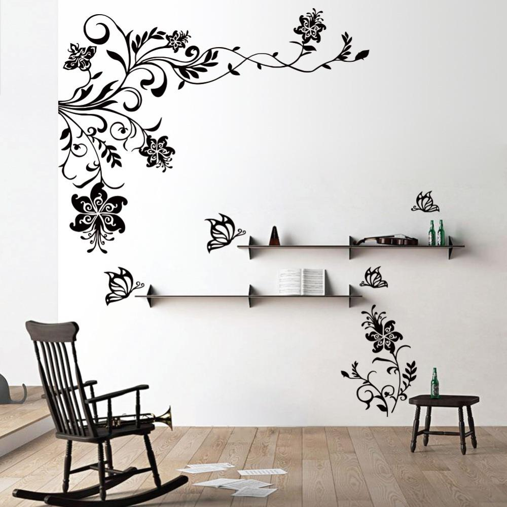 butterfly vine flower wall decals vinyl art stickers living room mural decor alphabet wall. Black Bedroom Furniture Sets. Home Design Ideas
