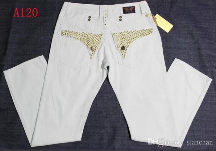 Tamaño de envío libre para hombre Robin Roca Jeans Denim Revival pernos prisioneros cristalinos diseñador de los pantalones pantalones de los hombres de 30-42 Nueva