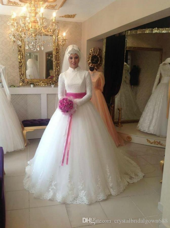 Großhandel Dubai High Neck Lange Ärmel Hijab Brautkleider Für ...
