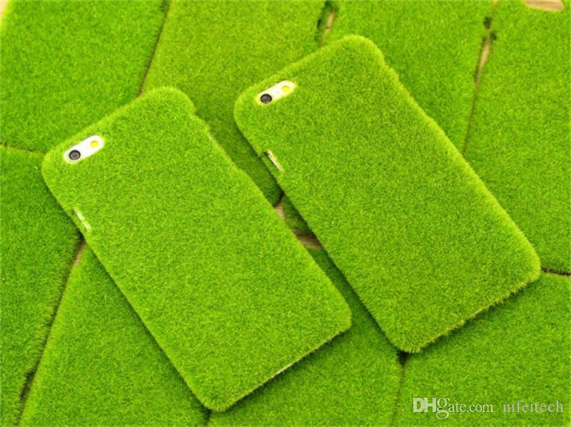 Drôle Shibaful Vert 3D Herbe Pelouse Sakura Plush Dur Etui PC Pour iPhone 6 6S Plus Avec Boîte Au Détail
